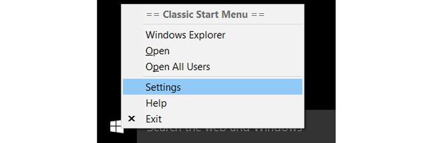 Wndows 10 Classic Shell start button settings