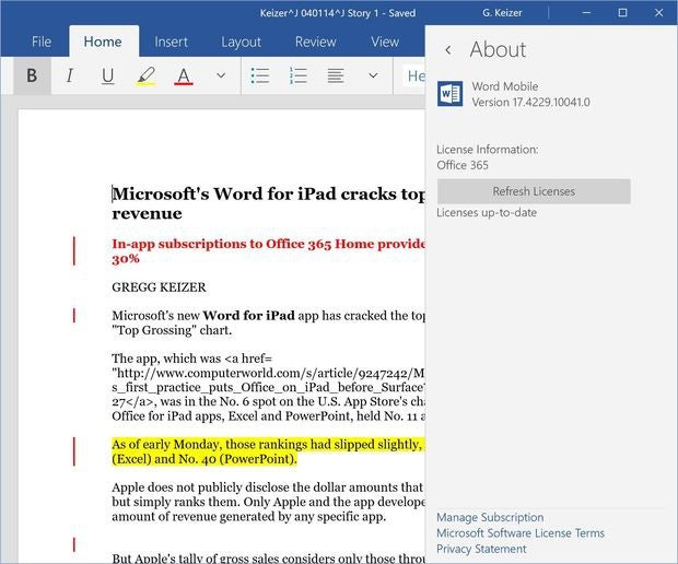 Word for Windows 10 app
