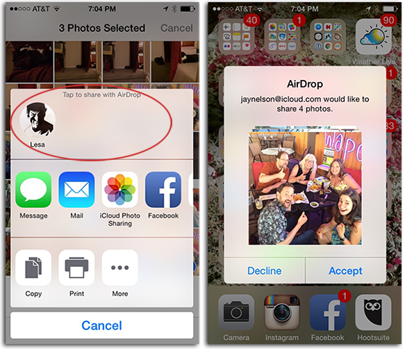 How to airdrop photos and videos between macs and ios devices airdrop enabled devices show up as icons at the top of share screen left if your recipient is on an ios device they can choose to accept or decline the ccuart Images