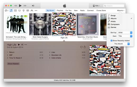 iTunes 12 albums view