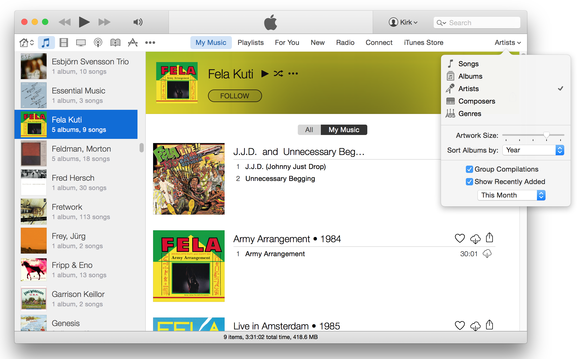 iTunes 12 artists view