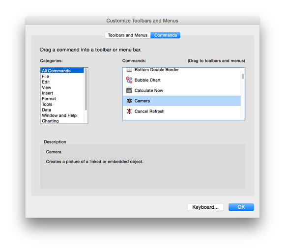 Excel 2016 for Mac customize menus