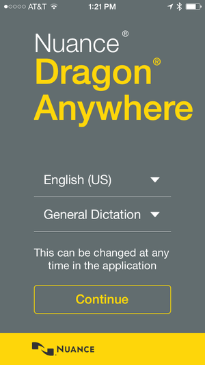 dragon anywhere phone login screen