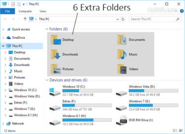 extra folders windows 10 this pc