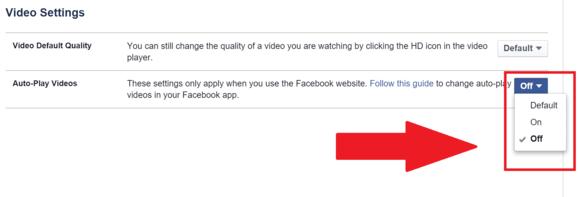 facebook video off