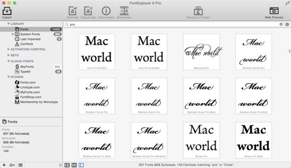 FontExplorer X Pro 5 font tile view
