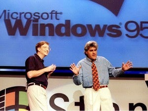 Bill Gates and Jay Leno at Windows '95 launch