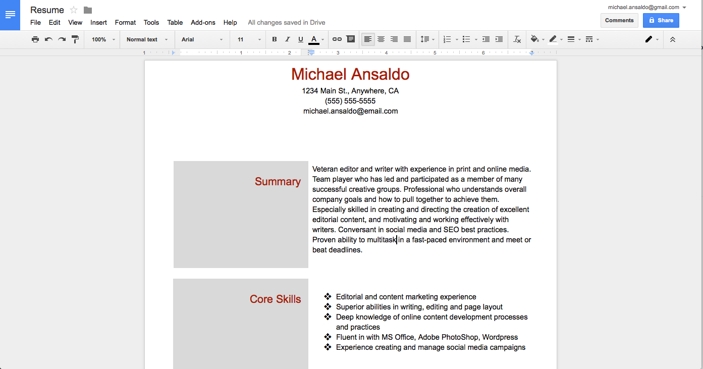 It Wont Win Any Design Awards But This Two Column Resume Was A Breeze To Create In Google Docs