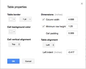 google docs table properties