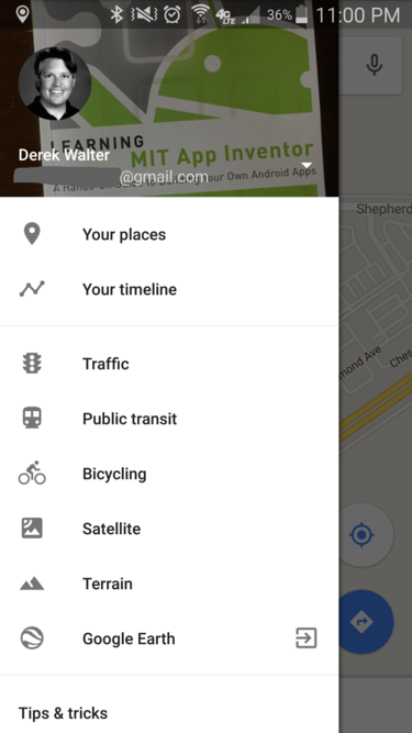 google maps your timeline