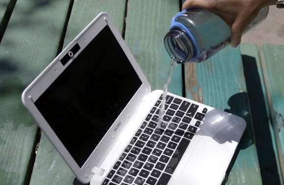 haier chromebook 11e water pour