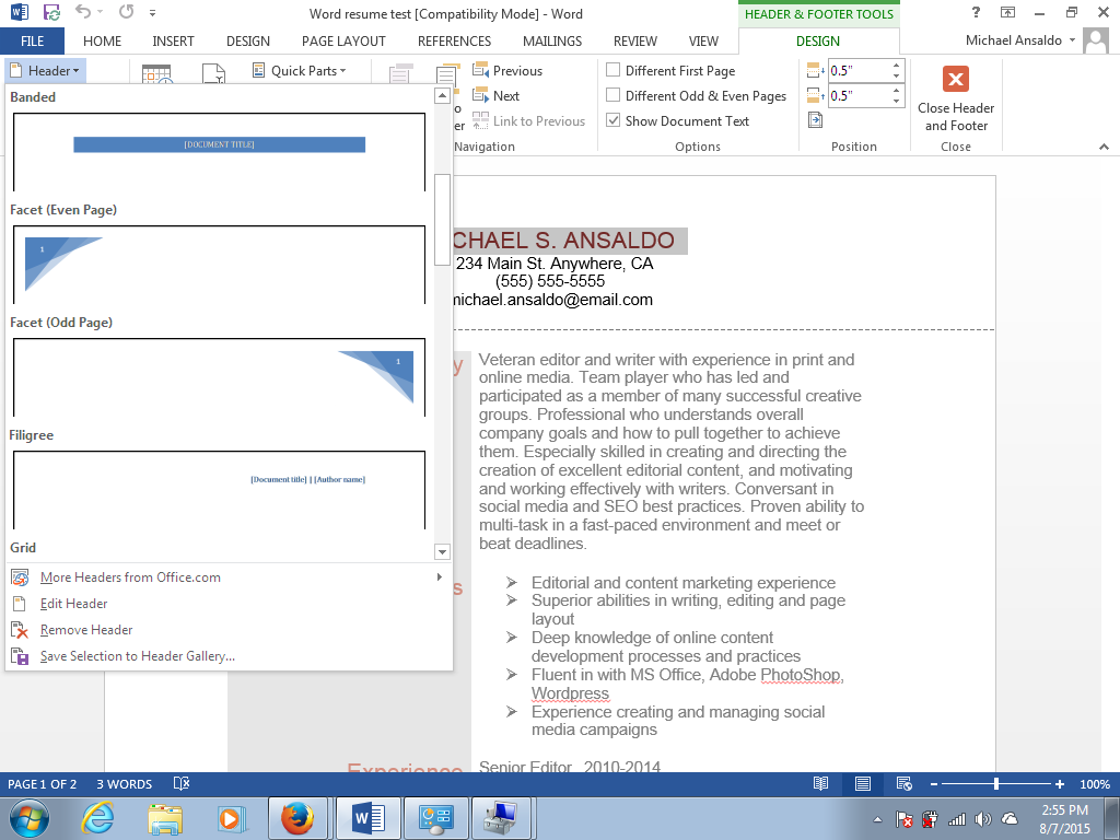 microsoft word vs  google docs on columns  headers  and