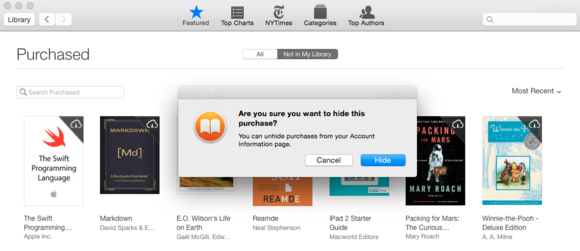 ibooks osx hide purchase