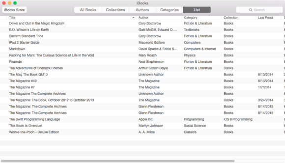 ibooks osx list view