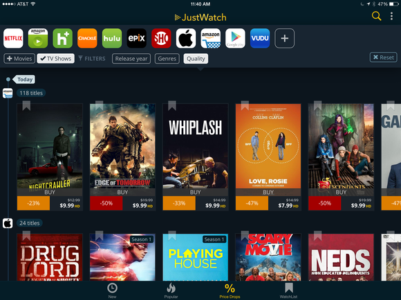 justwatch ipad price drops