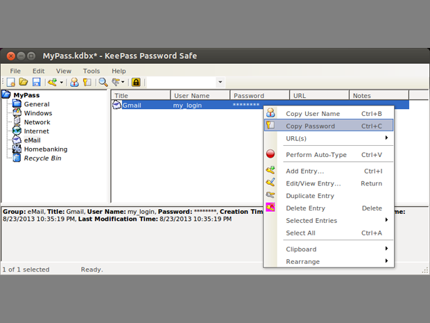 keepass on linux