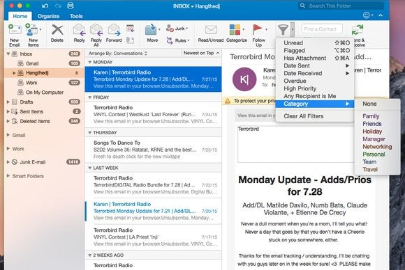 Office 2016 for Mac: Outlook categories