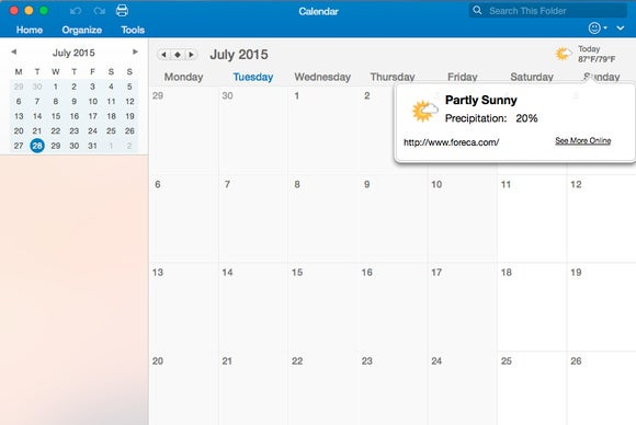 Office 2016 for Mac: Outlook weather