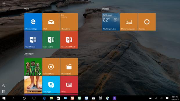 Windows 10 taskbar visible in tablet mode