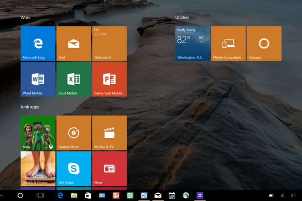 Windows 10 taskbar visible in tablet mode