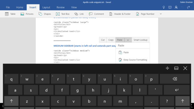 Office Mobile for Windows 10 menus get covered by keyboard