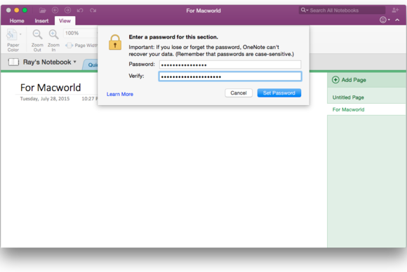 Office 2016 for Mac: OneNote password