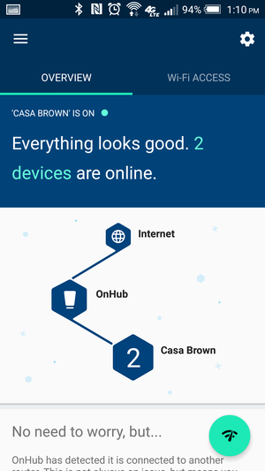 OnHub app user interface