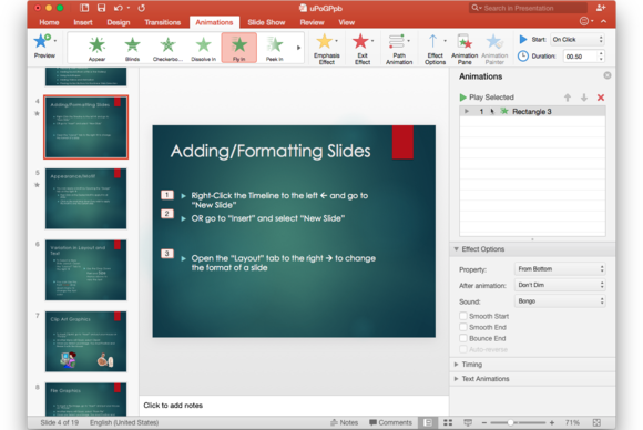 Office 2016 for Mac: PowerPoint Animations pane