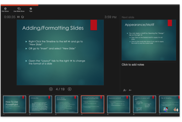 Office 2016 for Mac: PowerPoint presenter view