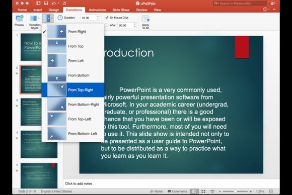 Office 2016 for Mac: PowerPoint transitions
