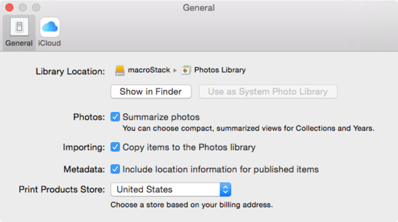 photos set import option