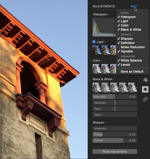 Photos add adjustments
