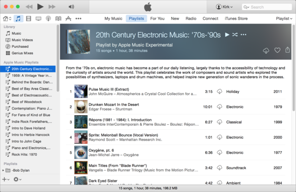 iTunes 12 playlist view