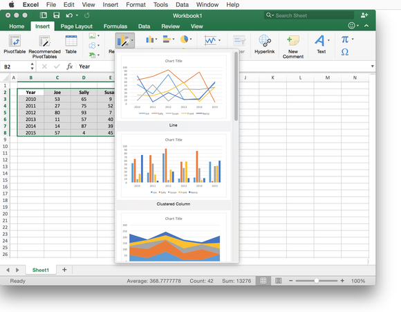 Excel 2016 for Mac recommended charts
