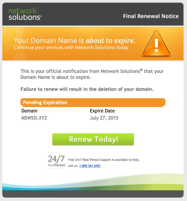NetSol .xyz scam message