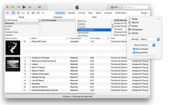 iTunes 12 songs view