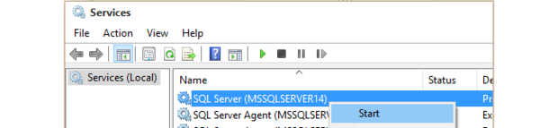 SSMS connection errors start SQL Server services
