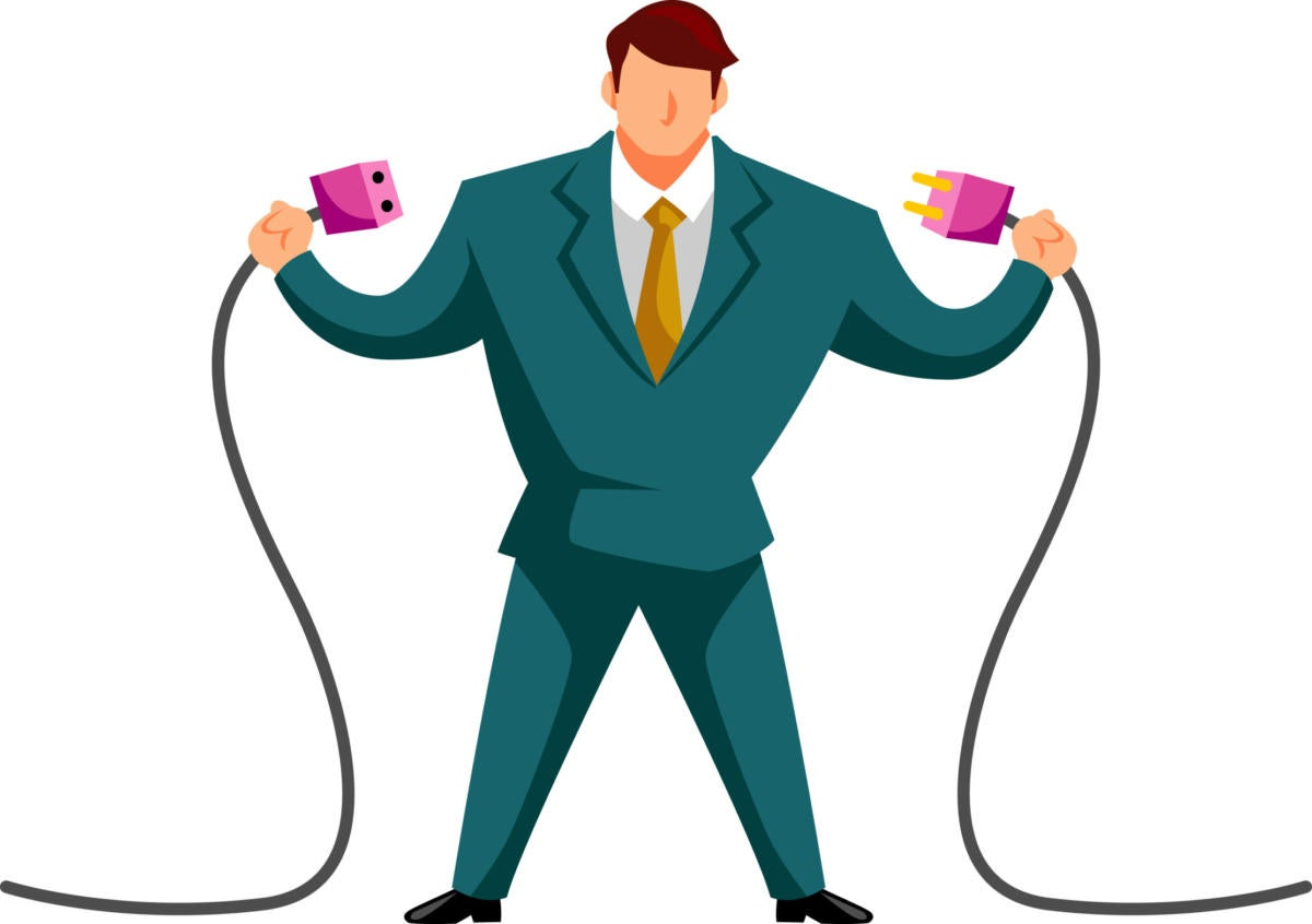 illustration of man in double-breasted suit connecting two cables