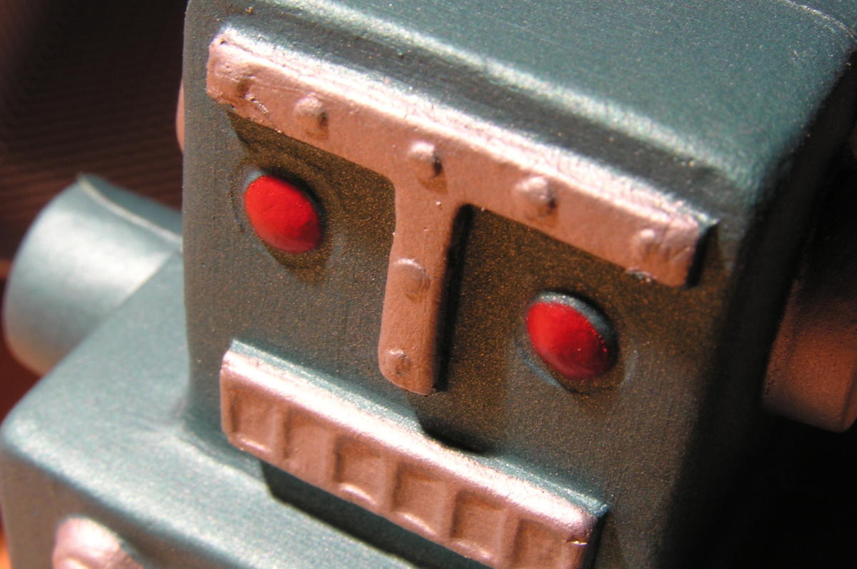 closeup of retro robot artificial intelligence