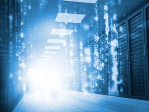 Network room with virtual code raining down