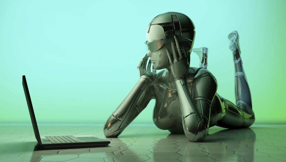 artificial intelligence female robot at laptop
