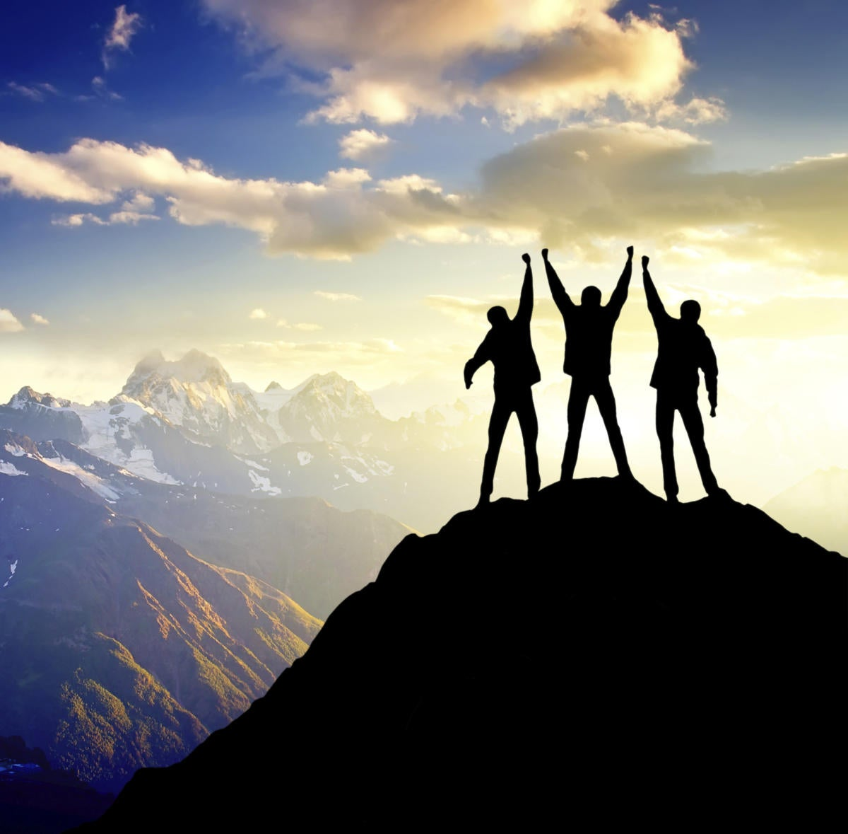 3 champions standing on top of mountain winner triump