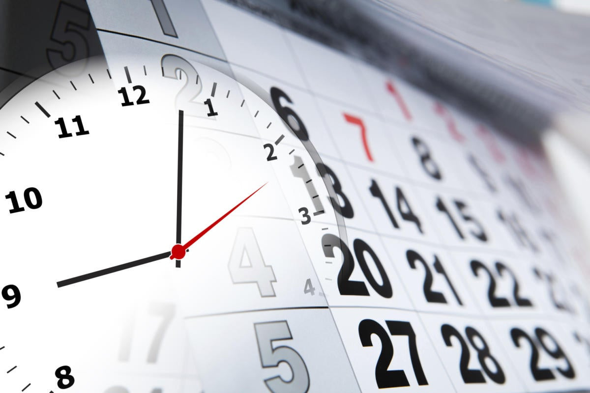 clock superimposed on monthly calendar