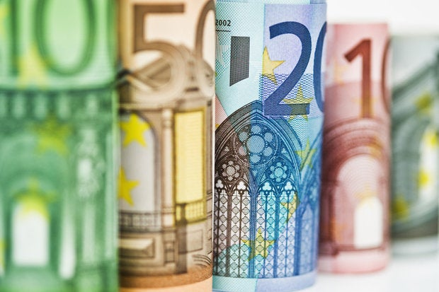 row of colorful euros currency