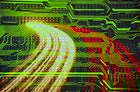 abstract traffic and circuitry background in red and green