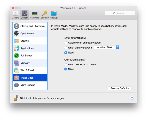 travel mode setting in parallels desktop 11