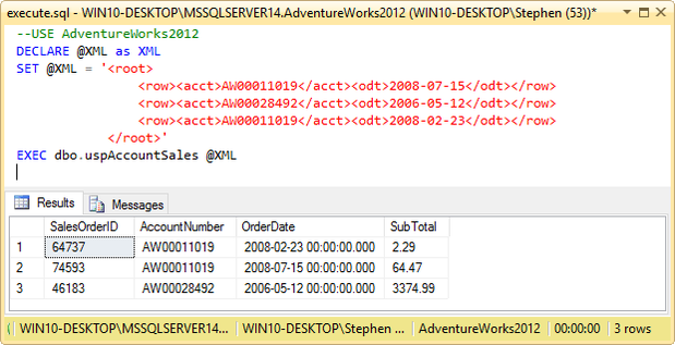 TSQL XML parameters