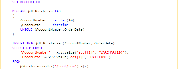 TSQL XML parameters table variable example
