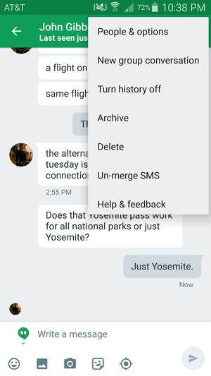 un merge sms hangouts