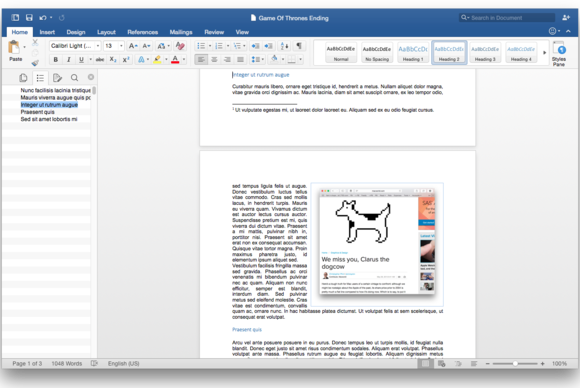 Office 2016 for Mac: Document navigation